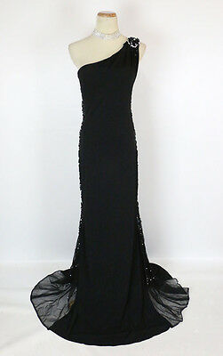 2423160ed0e6a NWT JVN by Jovani Size 6 Prom Formal Evening Long $400 Gown Black 1  Shoulder NEW