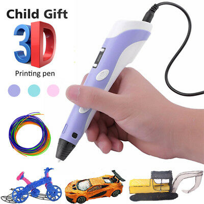 Xmas Kid Gift 3D Printing Pen Crafting Doodle Drawing Art Printer Modeling ABS