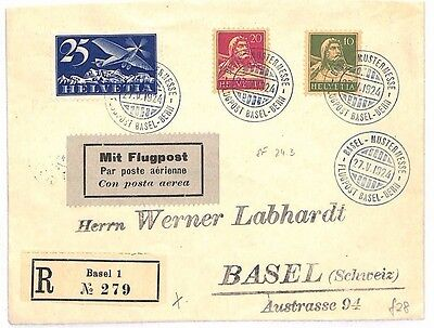 AR246 AVIATION 1924 SWITZERLAND First Flight Cover Bern to Basel Air-Mail FFC