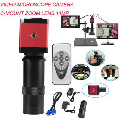 8-130X 1080P VGA HDMI Digital Industry Microscope Camera C-mount Zoom Lens 14MP