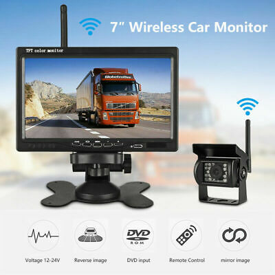 """2019 Wireless Rear View Backup Camera Night Vision +7"""" Monitor For RV Truck Bus"""