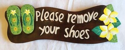Please Remove Your Shoes Wall Sign with Thongs & Frangipani Flower Design