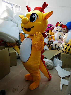 2019 Hot Yellow Dragon Mascot Costume Unisex Adult Size Professional Fancy Dress