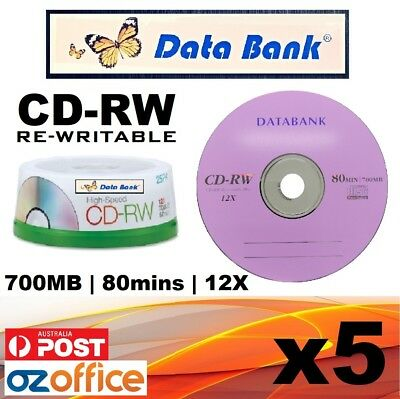BRAND NEW 5 x Data Bank CD-RW CD Rewritable 12X 700MB VIOLET CD Re Writable