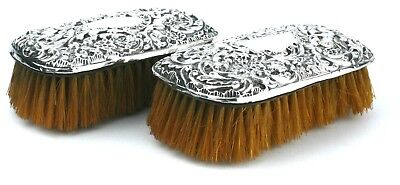 Antique Edwardian Sterling Silver Cherub Clothes Brushes Pair Large 1906