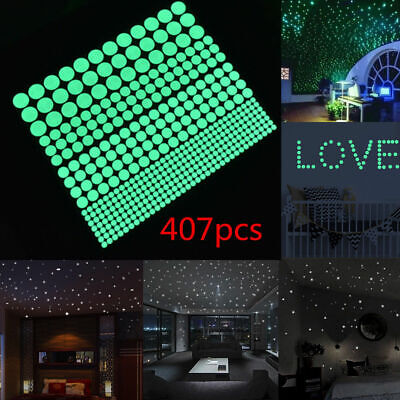407pcs Dot Luminous Star Wall Stickers Home Room Decor Glow In The Dark Decal
