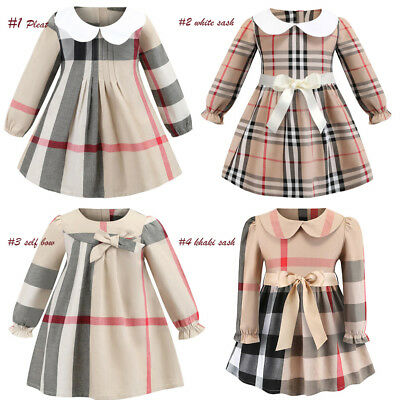 Girls Tan Long Sleeve Plaid Shirt Dress Pleat Belted Prom Party Outfits Blouse