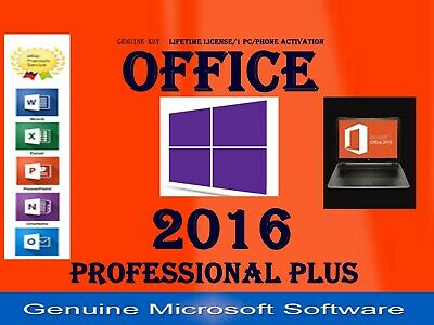 Microsoft Office 2016 Professional Plus For Windows 7 8 10 Product Key license