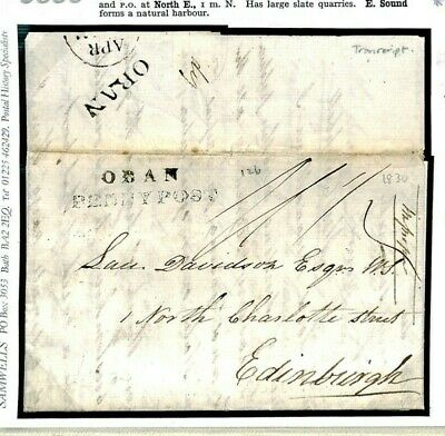 J336 GB Scotland Argyll Easdale/Oban Penny Post 1830 Cover