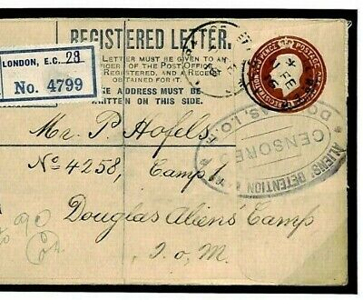 J245a GB IOM WW1 Cover*ALIENS DETENTION CAMP* Registered London 1916 ISLE OF MAN