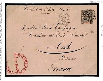 F510 FRENCH COLONIES Indochina Saigon Military Stationery1898 Cover