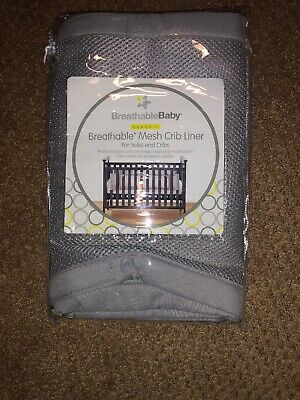 Breathable Baby Mesh Crib Bumper Liner Gray NEW... For Solid-end Cribs