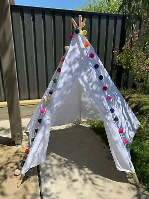 White Teepee Kid Play Tent Set Party Photography props Home Decor Clearance Sale