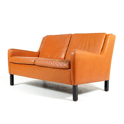 Retro Vintage Danish Leather Love Seat 2 Seater Sofa 50s 60s 70s Scandinavian