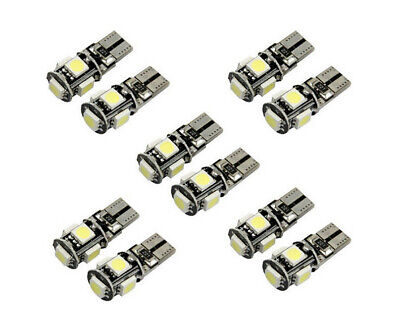 10x 12V Auto 5 SMD LED T10 Lampe weiß CANBUS Standlicht Innenraum 6500K