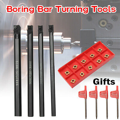6/7/8/10mm SCLCR06 Turning Tools Lathe Boring Bar Holder+ 10* CCMT060204 Inserts