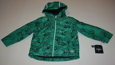 New OshKosh Boys 4 yr Raincoat Jacket Coat Green with Navy Dinosaur Print