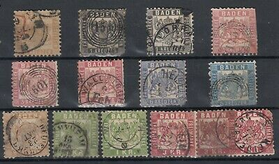 Germany Baden German States Early Collection Of 14 Fine Used MH J4634