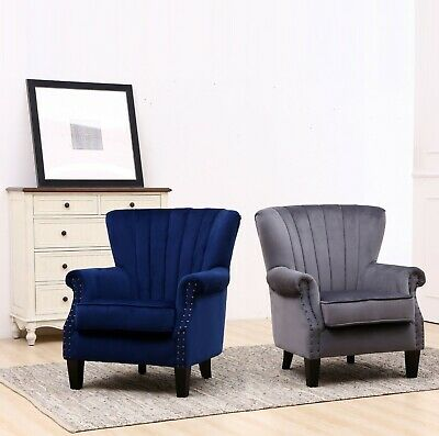 Crushed Velvet Wing High Back Occasional Fireside Lounge Tub Sofa Chair Armchair