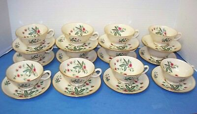 12 Sets Vintage LENOX China/Dishes COUNTRY GARDEN Footed Cups and Saucers
