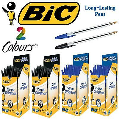 ORIGINAL BIC CRISTAL PENS MEDIUM - 1.0MM IN BLACK BLUE - VARIOUS QTY's -Free P&P