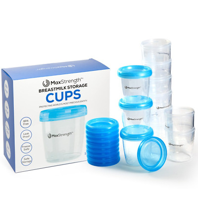Breastmilk Storage Containers 12pc Set with Leak Proof Lids by Max Strength Pro,