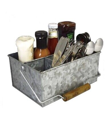 Galvanised Steel Table Caddy Cutlery Napkin Condiment Utensil Sauce Holder Caddy
