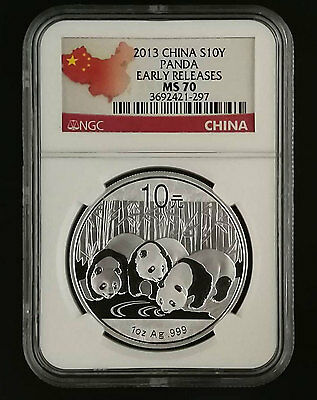 CHINA Panda Silver Coin 10 Yuan 2013, NGC MS70