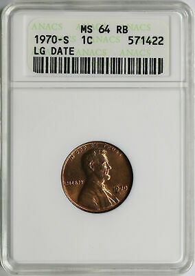 1970-S Large Date 1c Lincoln Cent ANACS MS64RB