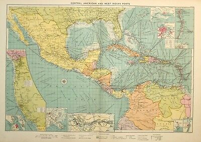 1913 Large Mercantile Marine Map Central America West Indian Ports Routes Havana