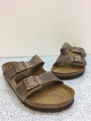 f306e4d3b4b4e6 Birkenstock Arizona Bs Tabacco Brown Leather Buckle Slide Sandals Mens Size  43