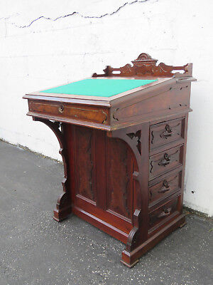 1880s Eastlake Early Victorian Small Carved Writing Secretary Desk 9116