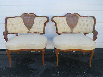 French Pair of Carved Caned Side Living Bed Room Fireplace Chairs 9216