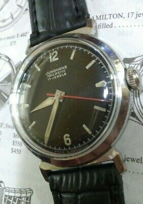 Vintage 1950s JUNGHANS TRILASTIC 17 Jewels Black Dial Red Second Watch Germany