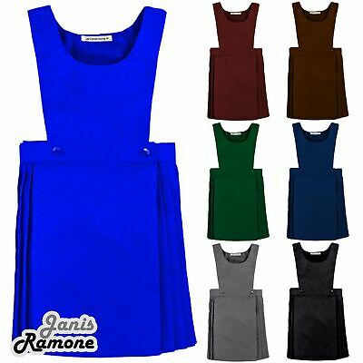 New Girls Kids Sleeveless Wrap Over Pleated Bib Pinafore School Uniform Dress