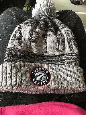 80ab664471c Toronto Raptors NBA Hat Cap Beanie Fan Winter Knit Gray Mitchell   Ness Pom  Pom