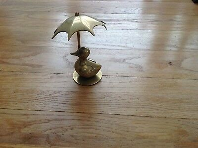 Charming Antique Brass Duck And Umbrella Ornament