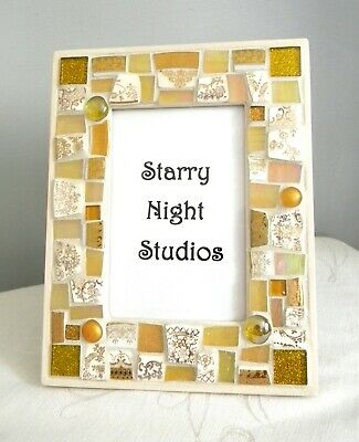 Mosaic Picture Frame - Iridescent GOLD - China Tiles and Gold Stained Glass