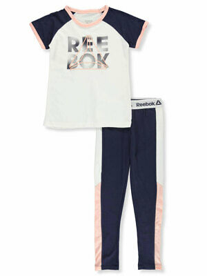 "NWT-2 Piece Girls Reebok Short Sets-Hot Coral-/""GIRL POWER/""---Size 5--RB2*CLT"