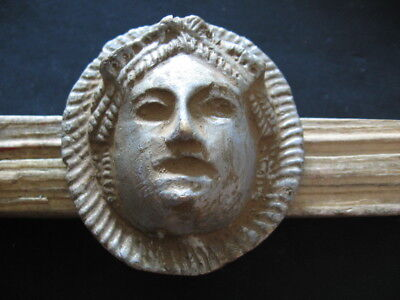 ISIS HEAD ANCIENT ROMAN RITUAL SILVERED BRONZE VOTIVE MASK 1-2 ct. AD 64 mm