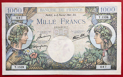 N°83 1000 Francs Commerce Et Industrie 6 2 1941 (Date Rare)