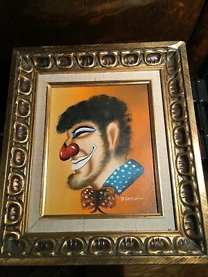 Vintage Clown Painting Signed Framed Oil on Canvas Signed J. Samson