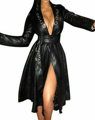 Black Faux Leather Fitted Coat Dress with Belt in Small Medium Large XL