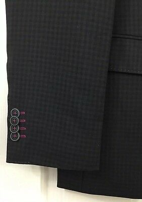 Hugo Boss The Patch1 Black Checked 100% Wool Sport Coat Blazer Jacket Size 38R