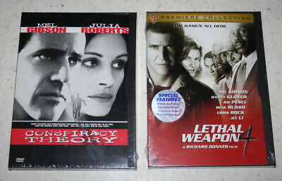 Lot of 2 Mel Gibson DVDs Lethal Weapon 4 and Conspiracy Theory NEW (E33)