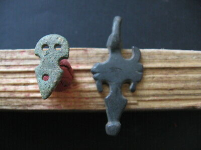 2 Stylized Phallus Amulets Ancient Celtic Bronze Fertility Talismans 300-100 Bc.