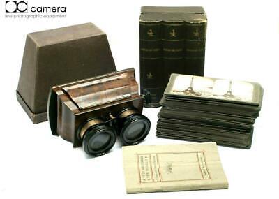 Antique Walnut Wood Stereoscope Stereo Viewer w/ 70 Underwood Stereoviews #29161