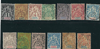 French Congo Stamps 18-30 Yv 12-21, 42-44 Used F/VF 1892-1900 SCV $172.60