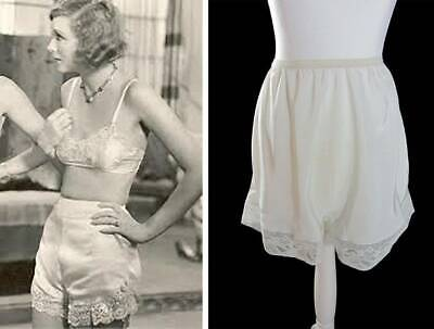 vintage new 50's cami knickers pants bloomers small ivory satin