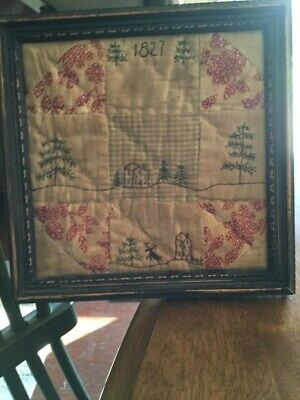 Early Primitive Handmade Quilt Embroidered Sampler Picture